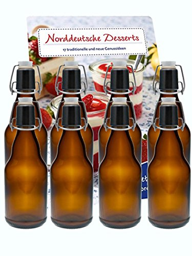 hocz 6er Set Bügelflaschen Bügelflasche Glasflaschen 330ml Braun Etiketten zum Beschriften mit Bügelverschluss zum Selbstbefüllen Bier Bierflaschen Bierflasche