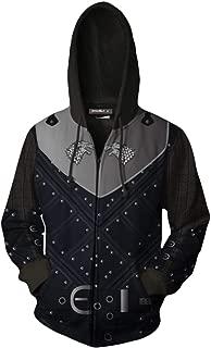 Men's GOT Jon Snow Night Watch Night's King Cosplay Jacket Costume Zip Up Hoodie Sweatshirt