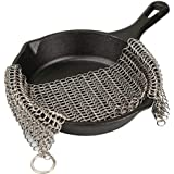 LauKingdom Cast Iron Cleaner - Stainless Steel Cast Iron Cleaner 316L Chainmail Scrubber for Cast Iron Pan, Ultra-hygienic Anti-Rust Cast Iron Scraper with Corner Ring, Square (8x6 inch)