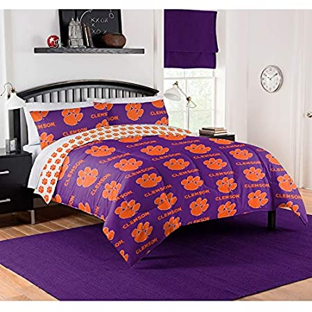 College Covers Clemson Tigers Reversible Comforter Set King