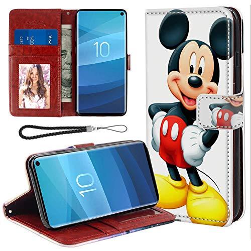 DISNEY COLLECTION Funda de piel sintética para Samsung Galaxy S10+, diseño de Mickey Mouse, con correa de mano, función atril, para mujeres y niñas, buena apariencia