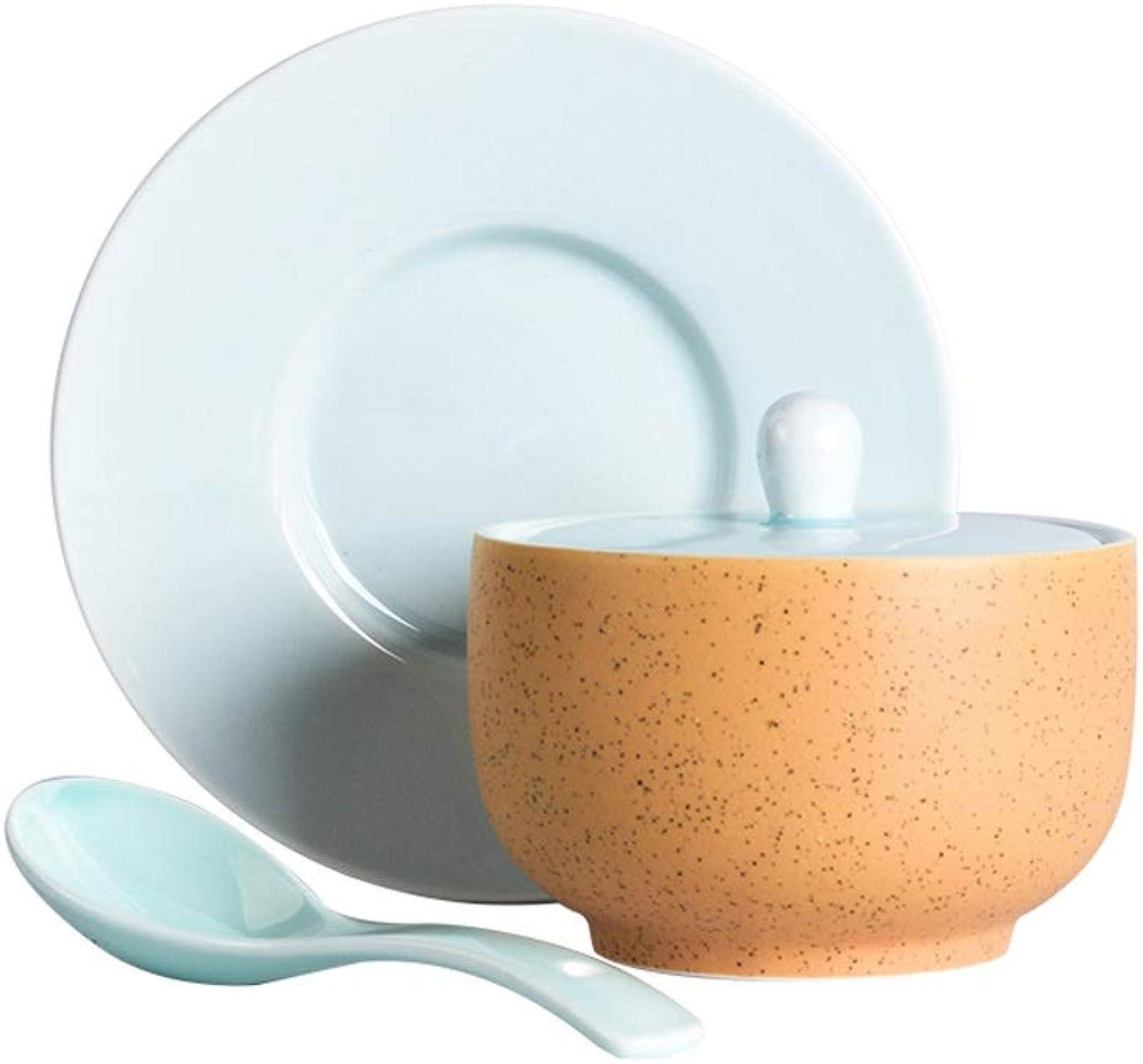 Marceooselm Creative Scrub Ceramic Stew Soup Soup Steamed Egg Bird's Nest Bowl Soup Bowl Bowl con Tapa, Adecuado para Familias
