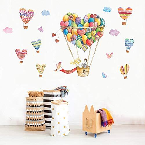 GWFVA Afneembare muur stickers slaapkamer, zonsondergang muur sticker DIY label liefde ballon, hete lucht 60 * 90cm