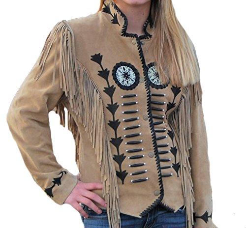 Bestzo Chaqueta de cuero de ante con flecos y cuentas para mujer, color marrón, XS-5XL