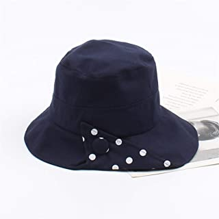ZWHMZ Hat Female Korean Version of The Retro Wave Hong Kong Fisherman hat Japanese Students Travel Wild Sunscreen Sun Lounger Cap (Color : Navy, Size : Adjustable)