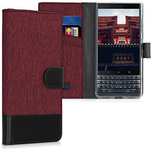 kwmobile BlackBerry KEYtwo LE (Key2 LE) Hülle - Kunstleder Wallet Case für BlackBerry KEYtwo LE (Key2 LE) mit Kartenfächern & Stand - Dunkelrot Schwarz