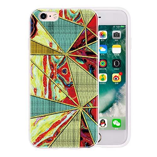 LUSHENG Funda Mármol para iPhone 6/6s, Cubierta de Parachoques Goma Brillante de TPU Prueba Golpes para Mujeres y Hombres para iPhone 6/6s 4.7' - TriáNgulo Rojo
