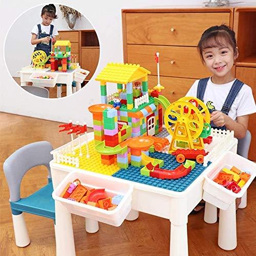Mopoq Brick Build 'n Learn Tabelle, Kinder Construction Spieltisch, großen Teilchenzahlen Small Particle Building Block Tisch, 2 Spielzeug-Leute / 1 Riesenrad / 2 Stuhl, Weiss