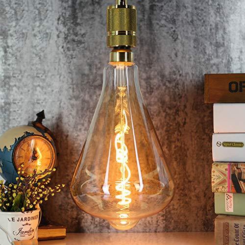 Bombilla Edison ST164 Curved LED filamento ámbar 4 W regulable 220/240 V E27 Vintage luz bombilla