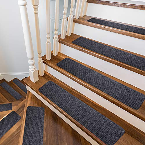 """Stair Treads Non-Slip Soft Carpet Strips for Indoors Safety Anti Slip Step Rug Grips for Wood and Marble Floors to Prevent Slippery Surfaces 15 8"""" x 30"""" Non Skid Runners"""