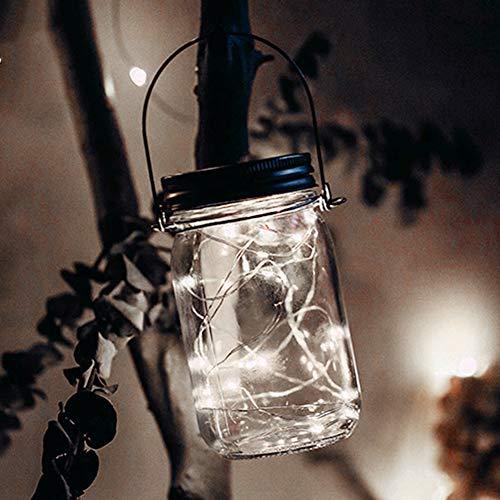 Solar Mason Jar Light - Jar Fairy Light, Waterproof Glass Jars Garden Hanging Lights, LED Christmas Lighting Fairy Lights, LED String Light for Party, Christmas Holidays, Wedding Decoration