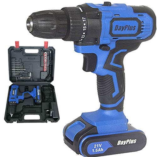 Power Tools Drill Kit 21V Built in Hammer/Magnet/LED Light, Cordless Drill Driver w/ 2x1500mAh Lithium Battery, 3/8' Keyless Chuck, Cordless Screwdriver Electric DIY Set, Variable Speed, w/Carry Case