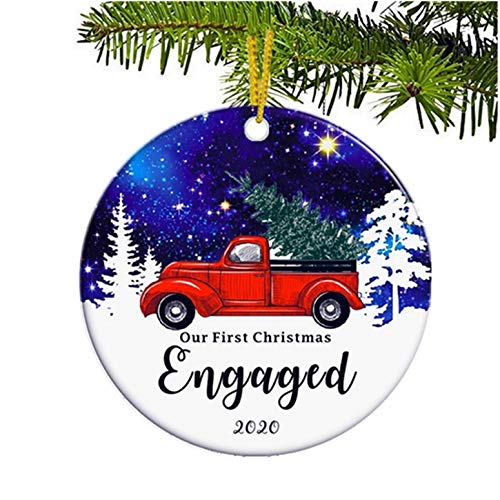 JUPPE Our First Christmas Engaged 2020 Ornament Starry Sky Xmas Tree Decoration Mr & Mrs Newlywed Romantic Couples Gift (Style-1)