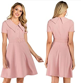 YYLZA Women Office Dress Short Sleeves Button Belts A Line Retro Dress