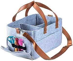 Baby Product Felt Storage Bag Infant Diaper Portable Basket Leather Stitching Pouch Multifunction Organizing Pocket