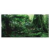 Cikonielf Póster autoadhesivo con efecto 3D de bosque tropical, para terrario, acuario, fondo de acuario, fondo de acuario, fondo de pared, fondo de acuario, póster de PVC (76 x 46 cm)