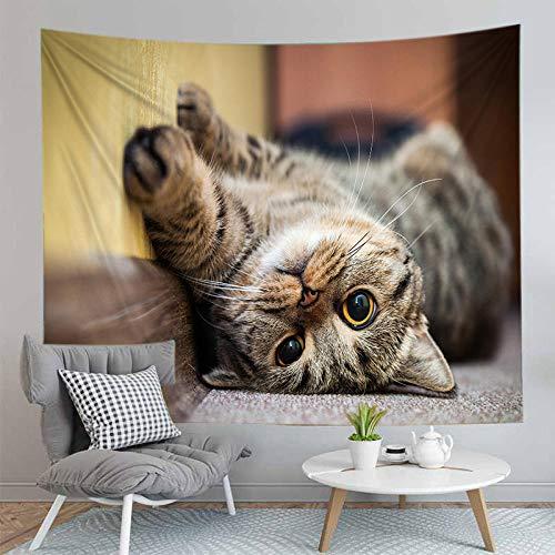 Tapiz para colgar en la pared Estampado de animales, gatos y perros, decoración psicodélica, tapiz bohemio, mandala, mandala, sala de estar, dormitorio, decoración (XL / 180x230cm franela)