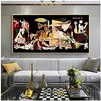 有名なピカソゲルニカキャンバス絵画複製ポスターとプリントリビングルームの家の装飾のためのクアドロス壁アート写真-70x140cmx1フレームなし