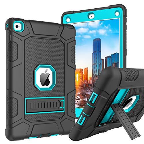BENTOBEN iPad Air 2 Hülle, iPad Air 2 Schutzhülle, iPad Air 2 Tablet Tasche mit Ständer Heavy Duty Hybrid Hülle PC Silikon Cover rutschfest stoßfest Hülle für iPad Air 2 A1566 A1567 Schwarz Blau