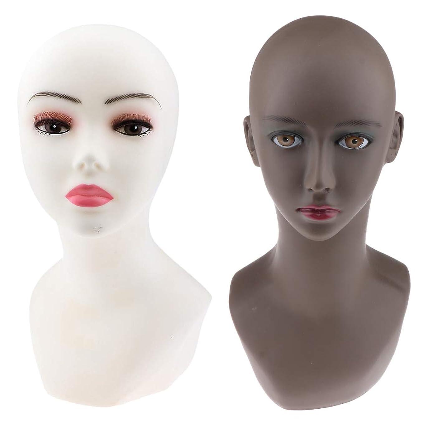 重力鉄一致するT TOOYFUL 2個セット マネキンヘッド 女性 ヘッドモデル PVC製 かつら作成 美容 化粧練習 洋服店 美容院