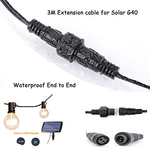Verlängerungskabel 3M / 9.8Ft Verlängerungskabel für Solar G40 LED Lichterketten wasserdicht