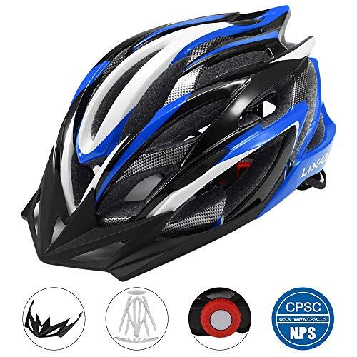 Lixada Casco da Bicicletta 25 Vents Ultraleggero Integralmente-modellato MTB Bici Regolabile Sicurezza Casco,Blu