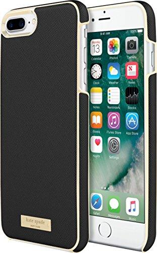 Kate Spade New York Wrap Case Carcasa para Apple iPhone 7 Plus / 8 Plus – Negro/Oro [diseño Saffiano | Acentos Dorados KSIPH-049-BLK