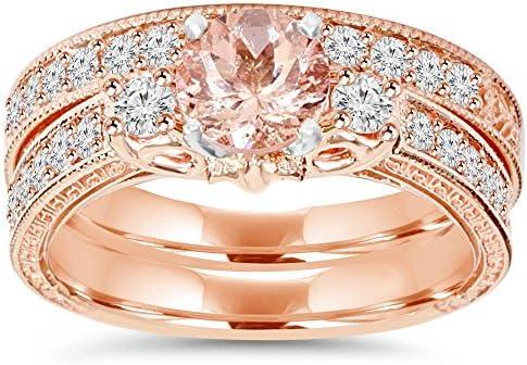 1 1 2CT Vintage Diamond Morganite Engagement Wedding Ring Set 14K Rose Gold Size 8 5 product image