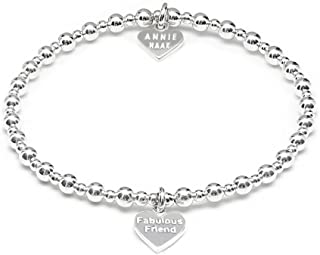 451b6a455383ca Annie Haak 17cm Mini Orchid Silver Charm Bracelet - Fabulous Friend  engraved Heart Charm