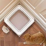 gengxinxin Gatitos Aseo Cat Litter Box Arenero Gatos Protege El Suelo Y La Alfombra para Esquina (Color: Beige Tamaño: 44 * 44 * 25 Cm) (Color: Beige Tamaño: 44 * 44 * 25 Cm)-44 * 44 * 25 Cm_Beige