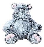Oso de peluche de hipopótamo, gris, sentado, suave (32 cm)