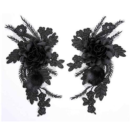 PandaLegends Un par Negro Rosa Pluma Apliques Parche Bricolaje Vestido decoración Apliques Bordados 3D Apliques Florales