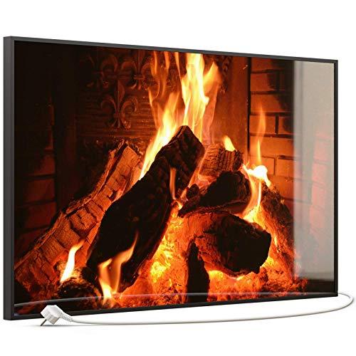 STEINFELD Heizsysteme® Glas Bild Infrarotheizung mit Thermostat | Kamin Feuer | viele Motive 350-1200 Watt Rahmen schwarz (600 Watt, 032 Kamin)