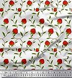 Soimoi Weiß Baumwolle Batist Stoff Blätter & Erdbeere