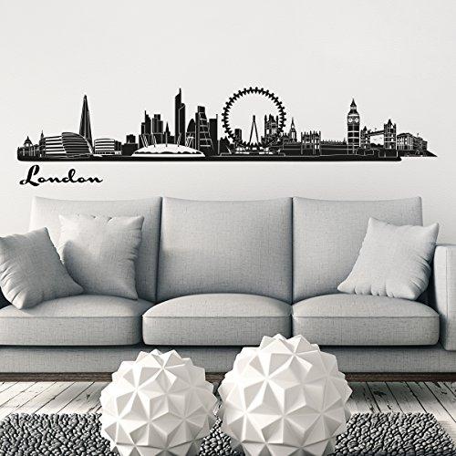 Wandkings Skyline - Deine Stadt wählbar - London - 125 x 22 cm - Wandaufkleber Wandsticker Wandtattoo