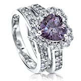 BERRICLE Rhodium Plated Sterling Silver Purple Heart Shaped Cubic Zirconia CZ Statement Halo Wedding Engagement Ring Set 2.8 CTW Size 8