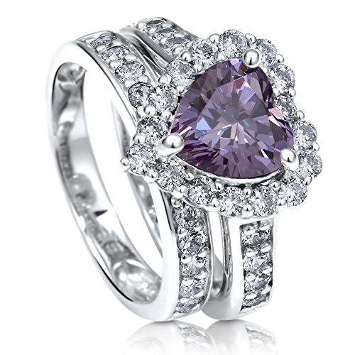 BERRICLE Rhodium Plated Sterling Silver Purple Heart Shaped Cubic Zirconia CZ Statement Halo Engagement Wedding Ring Set 2.82 CTW Size 6