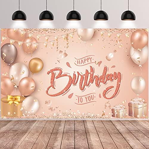 GRESATEK Happy Birthday Banner, Roségold Geburtstag Hintergrund Banner Party Dekoration für Mädchen Frauen Kinder Geburtstag Jubiläum Party Super großes Geburtstagschild Poster Photo Booth Hintergrund