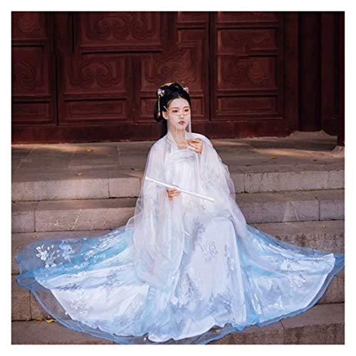 Hanfu - Traje de mujer antiguo estilo chino, sper hada y elegante, mangas anchas, cuello para estudiantes con aspecto delgado y completo de verano (color: estilo B, tamao: S)