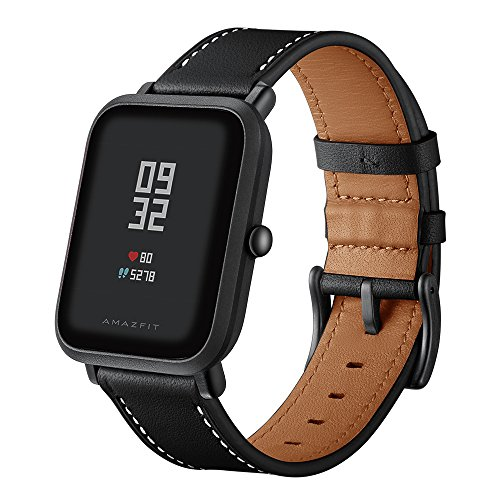 Kartice Compatible with Amazfit Bip Band /Galaxy Watch 3 41mm Band, 20mm Leather Strap Replacement Buckle Strap Wrist Band for Amazfit Bip Smartwatch (Black)