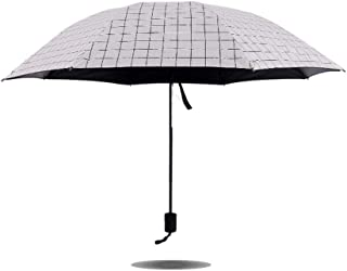 ZYSWP Small Fresh Checkered Sunny and Rain Dual Use Umbrella,UV Protection Vinyl Folding Sun Umbrella (Color : White)