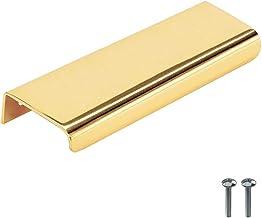 """Beslag Design - 1 stuk meubelgreep greep greep """"Lip"""" messing gepolijst - 120 mm, gatafstand 80 mm - kastgreep profielgreep..."""