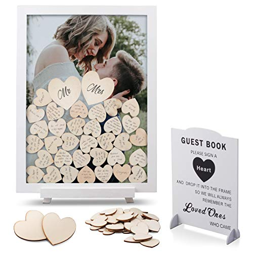GLM Wedding Guest Book Alternative with Drop Top Wooden Hearts and...