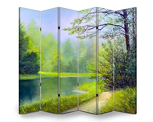 6 Panel Wall Divider Oil Painting Landscape Stock Illustration Folding Canvas Privacy Partition Screen Room Divider Sound Proof Separator Freestanding Protective Divider