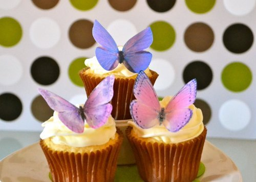 Edible Butterflies -Large Purple Set of 12 - Cake and Cupcake Toppers, Decoration