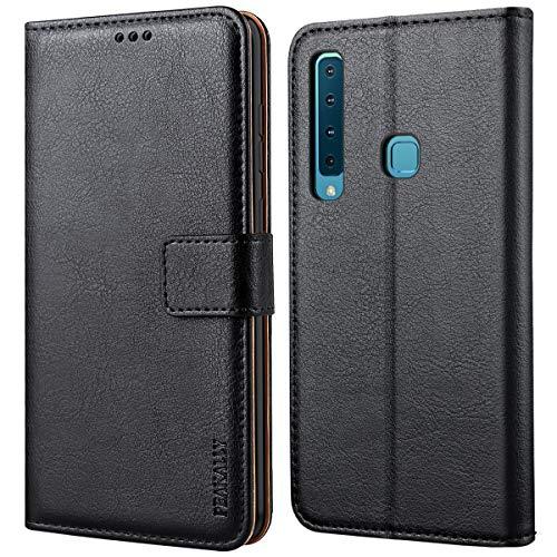 Peakally Cover per Samsung Galaxy A9 2018, Flip Caso in PU Pelle Premium Portafoglio Custodia per Samsung Galaxy A9 2018, [Kickstand] [Slot per Schede] [Chiusura Magnetica]-Nero