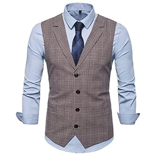 YLQGS メンズスーツベストファッションスリムフィット薄い格子縞の男性ウエストコートトップススリムウエストコートマンイングランドスタイル男性レジャースーツ (Color : C, Size : XXL code)