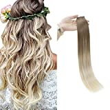 Full Shine 20' Tape Extensions Human Hair Balayage Ombre Hair Extensions Color...