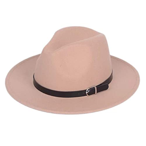 Lanzom Women Retro Style Wide Brim Panama Hat Belt Buckle Wool Fedora Hat b871168714c