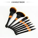 Set de Cepillo de Maquillaje Baseball Girl Foundation Brush Herramientas de Maquillaje de Belleza Cepillos Cosméticos Corrector Cepillos 8 unids , Black